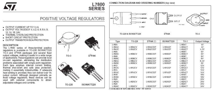 7805cv regulateur de tension 5v 1 5a to220. Black Bedroom Furniture Sets. Home Design Ideas